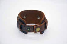 Load image into Gallery viewer, Not All Who Wander Are Lost Dusty Leather Wide Cuff