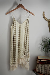 White & Tan Casual Dress by Entro