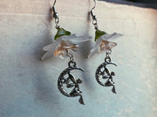 Load image into Gallery viewer, Silver Fairy Moon Flower Earrings