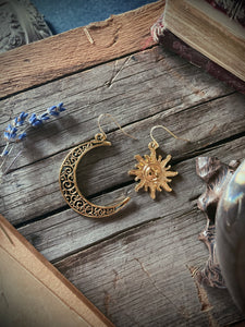 Gold Moon and Sun Earrings