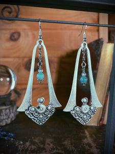 Silver Goddess Earrings with Turquoise and Quartz