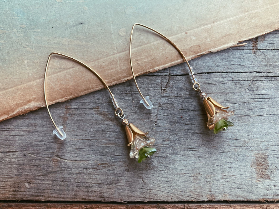 Long Gold Goddess Charm Flower Earrings