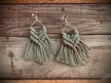 Load image into Gallery viewer, Moss Goddess Macrame Earrings