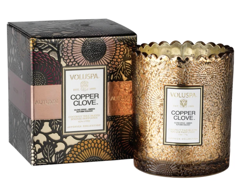 Copper Clove Seasonal Scalloped Edge Candle
