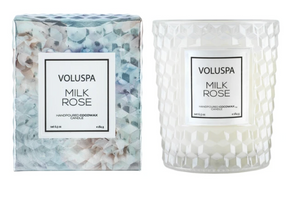 Milk Rose Textured Glass Candle