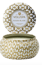Load image into Gallery viewer, Suede Blanc 2 Wick Maison Tin Candle