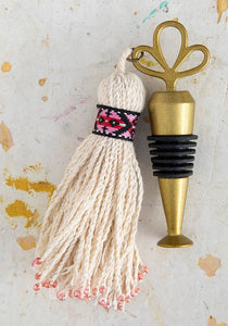 Natural Red Beaded Tassel Stopper