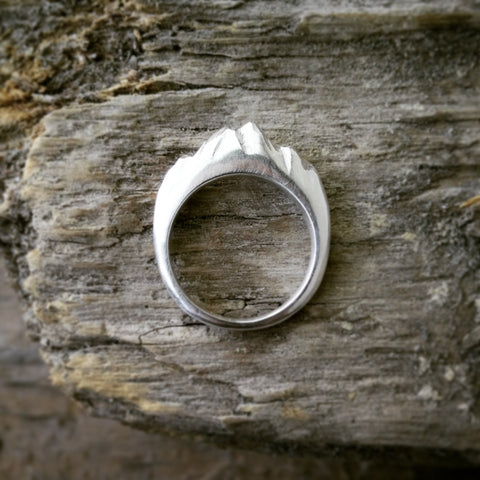 Mt Cook mountain ring, sterling silver