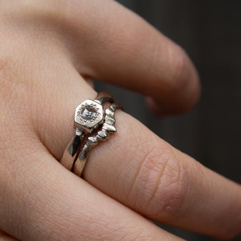 hexagon setting rose cut diamond engagement ring and wedding ring set