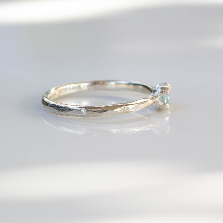 Droplet ring - silver and topaz