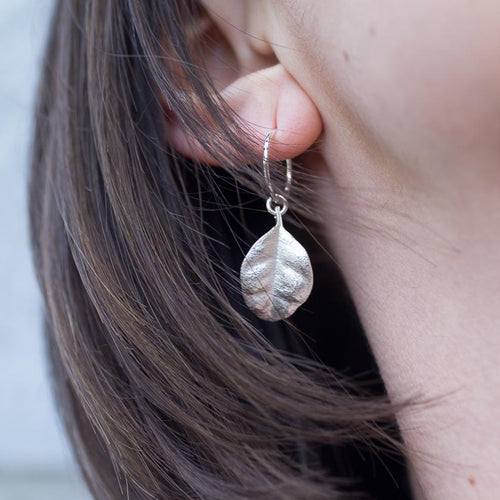 Ramarama leaf hoop earrings