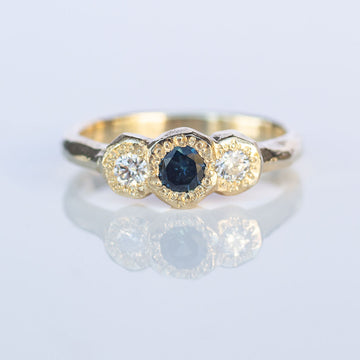 ON HOLD Torci ring- 9ct yellow gold, sapphire and white diamonds