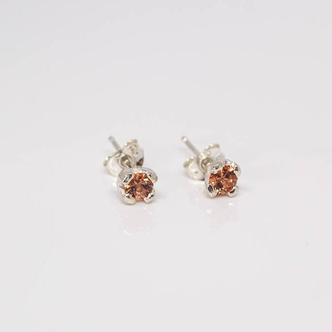 Droplet studs - sterling silver with spessartine garnets