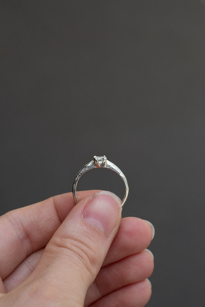 ON HOLD Droplet Ring - 9ct white gold with white diamond