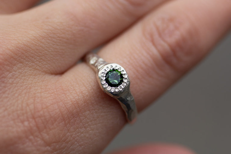 Spring Ring - Sterling silver, green tourmaline