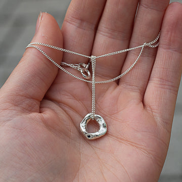 Circle Pendant - Sterling Silver with Sapphire - Small