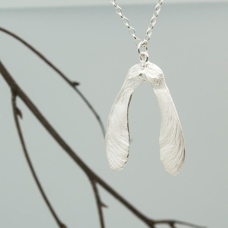 Double sycamore seed necklace