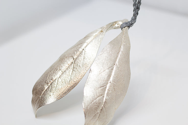 Large Leaf Pendant on Braided Cord - Double