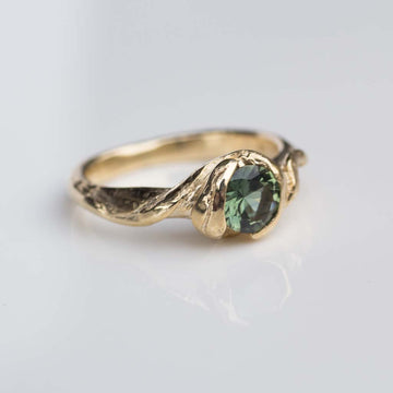 Evergreen Ring- 9ct yellow gold, set with .86ct green Australian sapphire