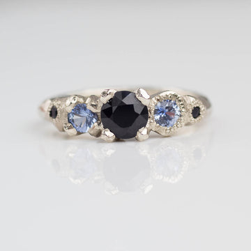 Orion ring- 14ct white gold, black and Ceylon sapphires