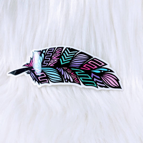 Feather Waterproof Stickers - HandmadeSask