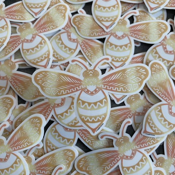 Clear Glowing Bee Waterproof Sticker - HandmadeSask