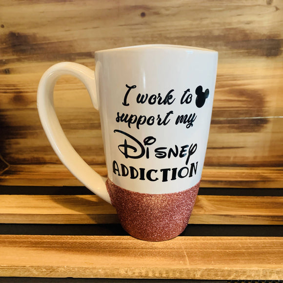 Disney Addiction Glitter Mug - HandmadeSask