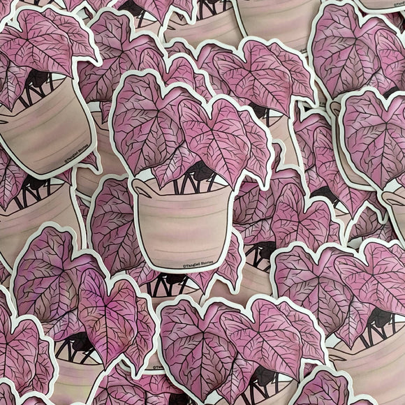 Pink Caladium Waterproof Sticker - HandmadeSask