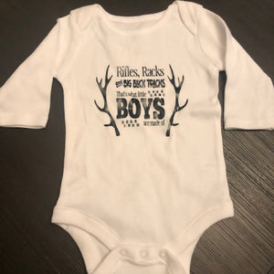 Boys Rifles, Racks and Big Buck Tracks Baby Onesies - HandmadeSask