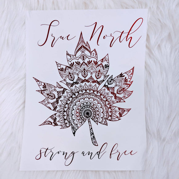 True North Red Foil Print - HandmadeSask