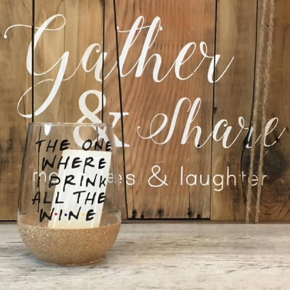 Drink all the Wine Glitter Stemless - HandmadeSask