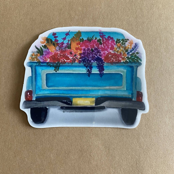 Flower Truck Waterproof Sticker - HandmadeSask