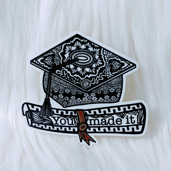 Grad Cap Waterproof Stickers