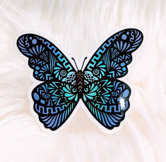 Butterfly (Blue) Waterproof Stickers - HandmadeSask