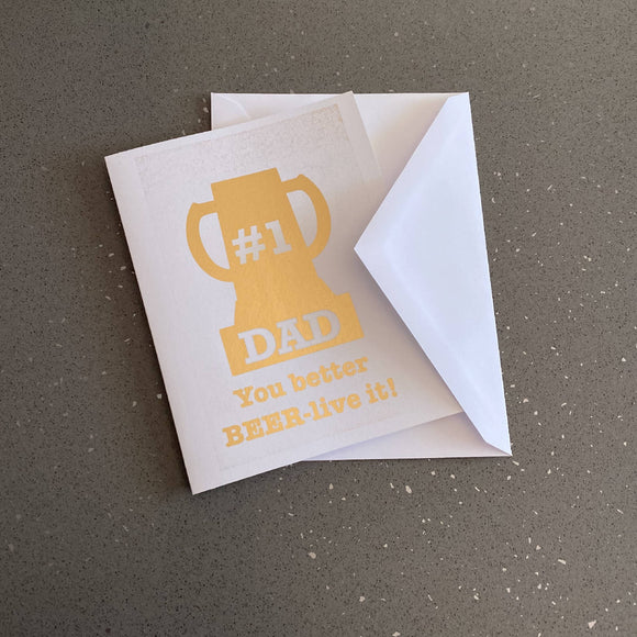 #1 Dad Beer Mug Trophy Card - HandmadeSask