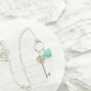 Stay - Key Necklace in Amazonite - HandmadeSask