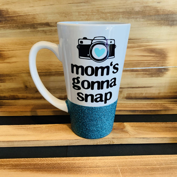Mom's Gonna Snap Glitter Mug - HandmadeSask