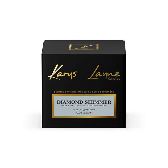 14 oz Diamond Shimmer Scented Wood Wick Candle - HandmadeSask