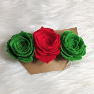 Christmas Triple Flower Barrette - HandmadeSask