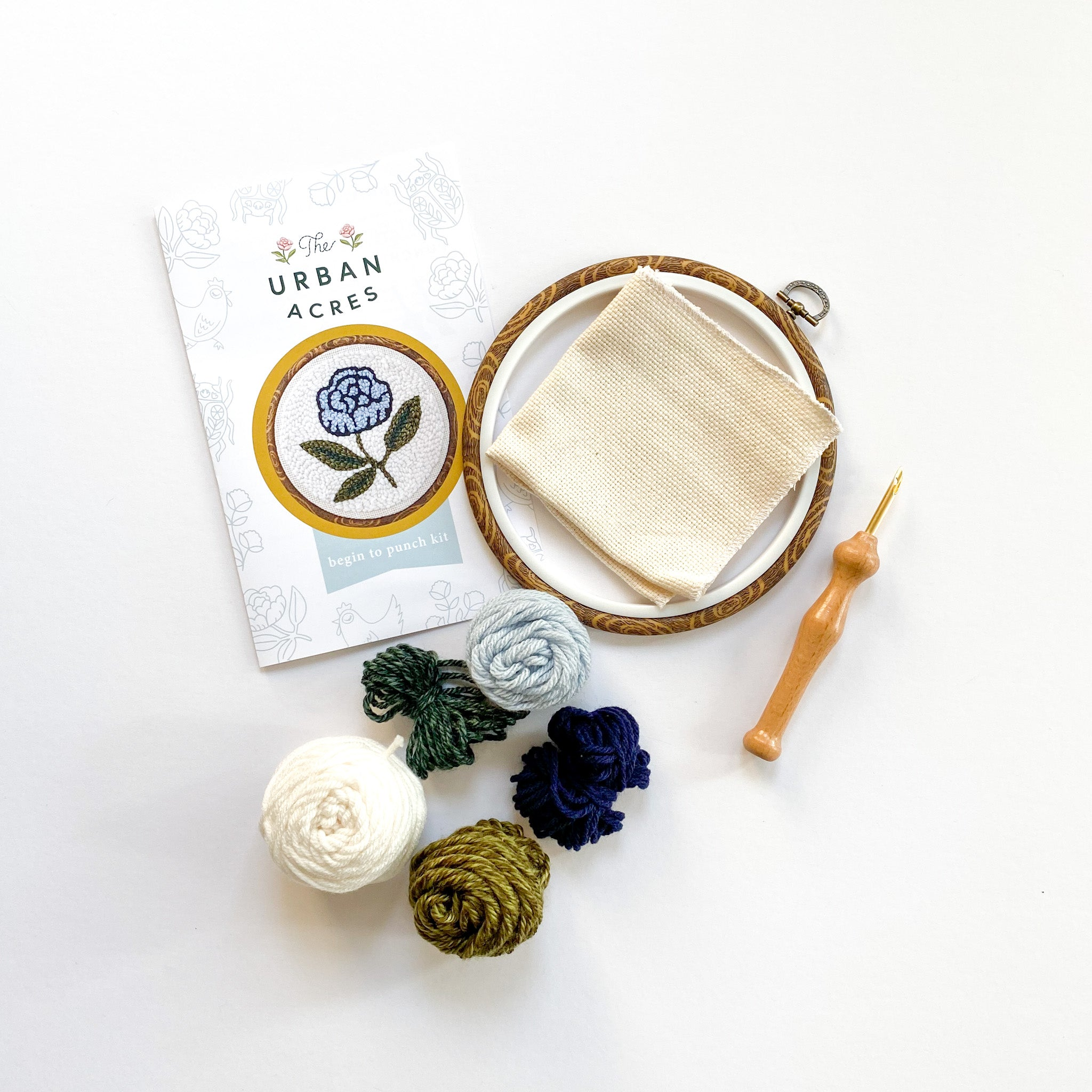 Begin to Punch Needle Kit -- Blue  Peony, Beginner's Rug Hooking Kit, Craft Kit