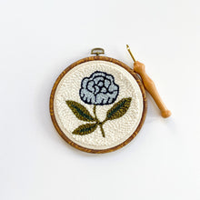 Load image into Gallery viewer, Begin to Punch Needle Kit -- Blue  Peony, Beginner's Rug Hooking Kit, Craft Kit
