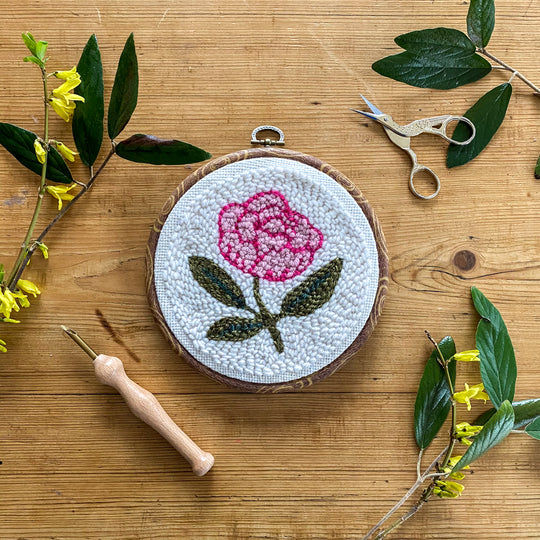 Begin to Punch Needle Kit -- Peony