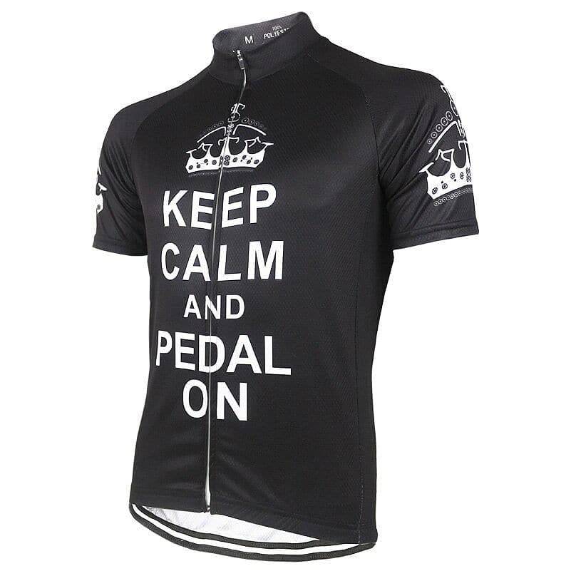Keep Calm & Pedal On - Black Cycling Jersey - Granny Gear