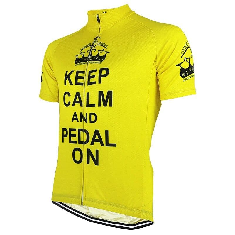 Keep Calm & Pedal On - Yellow Cycling Jersey - Granny Gear