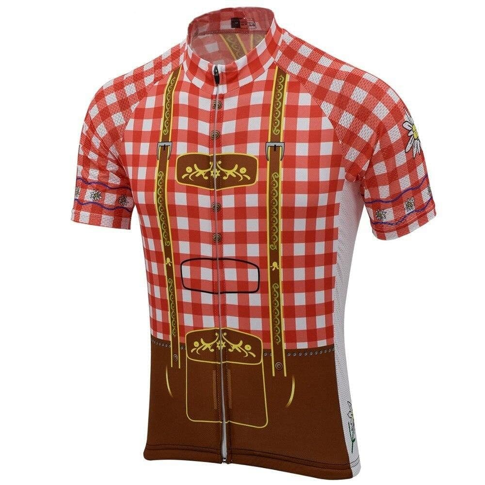 Red Lederhosen Cycling Jersey - Granny Gear