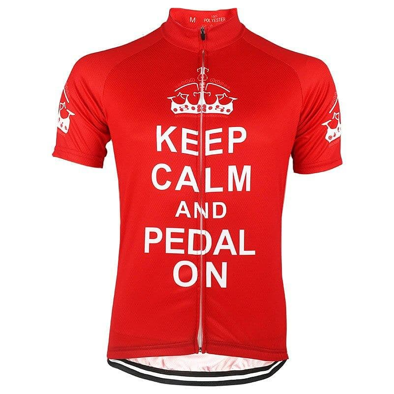 Keep Calm & Pedal On - Red Cycling Jersey - Granny Gear