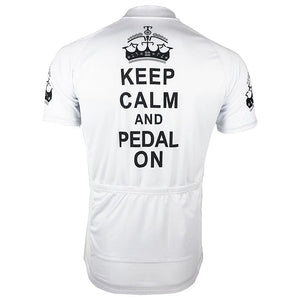Keep Calm & Pedal On - White Cycling Jersey - Granny Gear