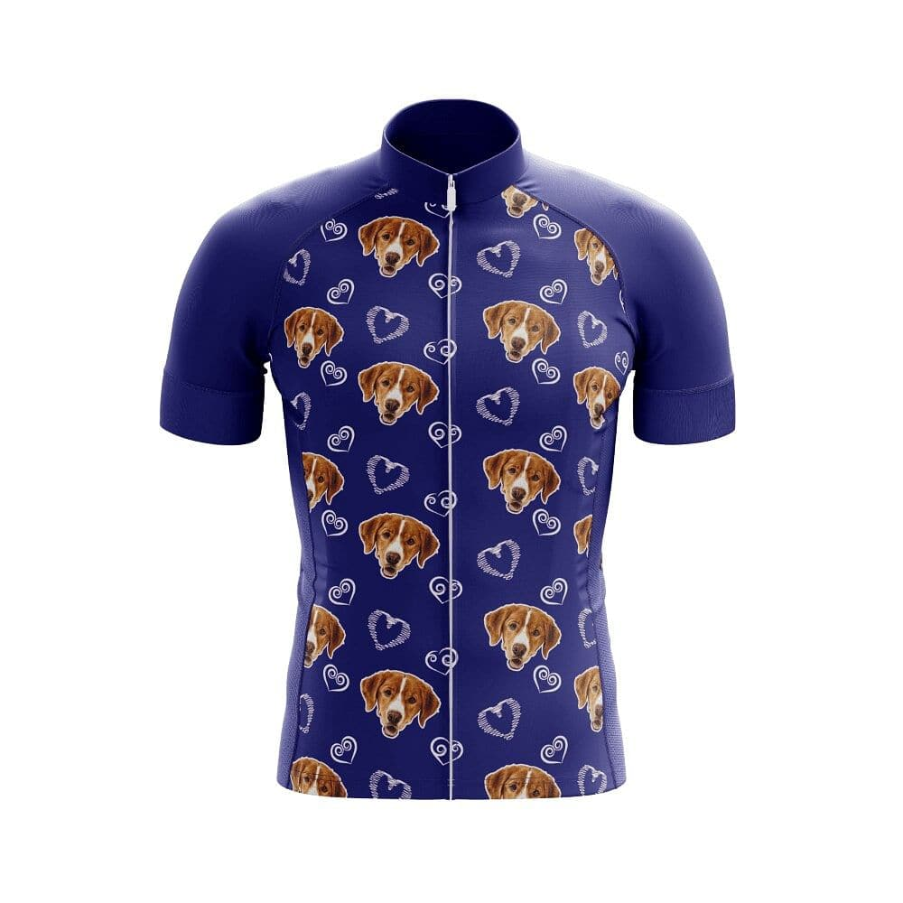 Dog & Hearts Pattern Cycling Jersey - Granny Gear