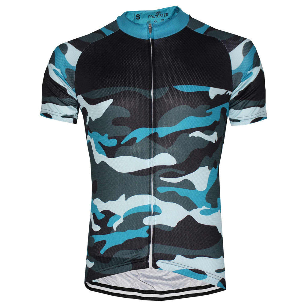 Blue Camouflage Cycling Jersey - Granny Gear