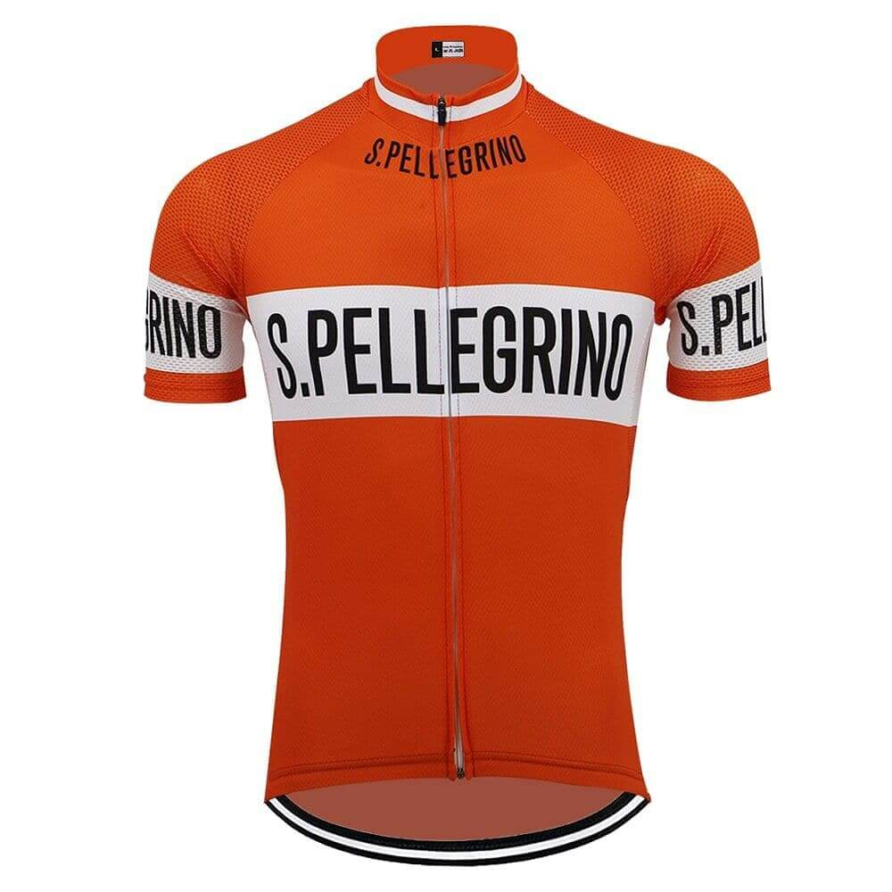 Retro San Pellegrino Cycling Jersey - Orange - Granny Gear